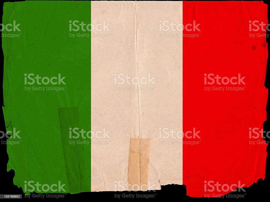 Italy Flag Grunge Old Vintage Damaged Paper royalty-free stock photo