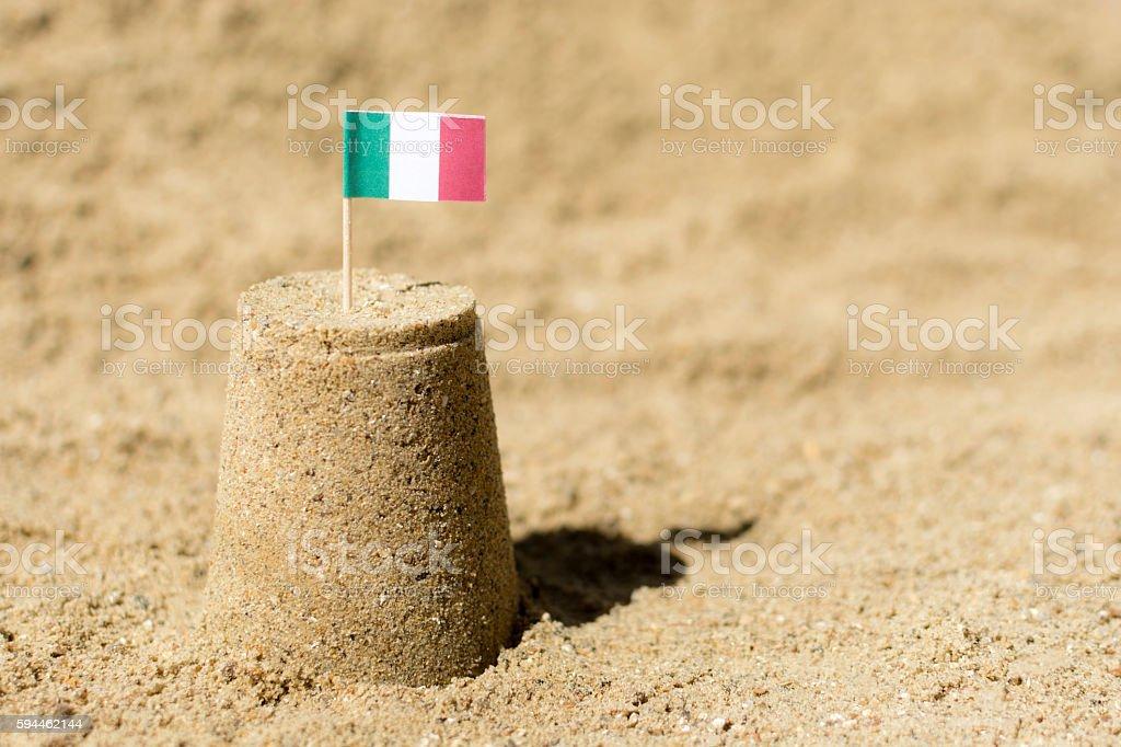 Italy Flag Sandcastle Beach Travel stock photo
