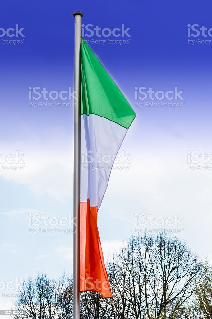 Italy flags with flagpole stock photo