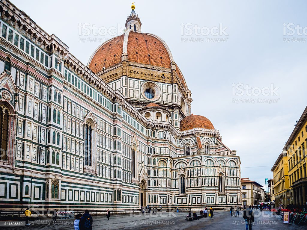 Italy Florence Cathedral in rainy day stock photo