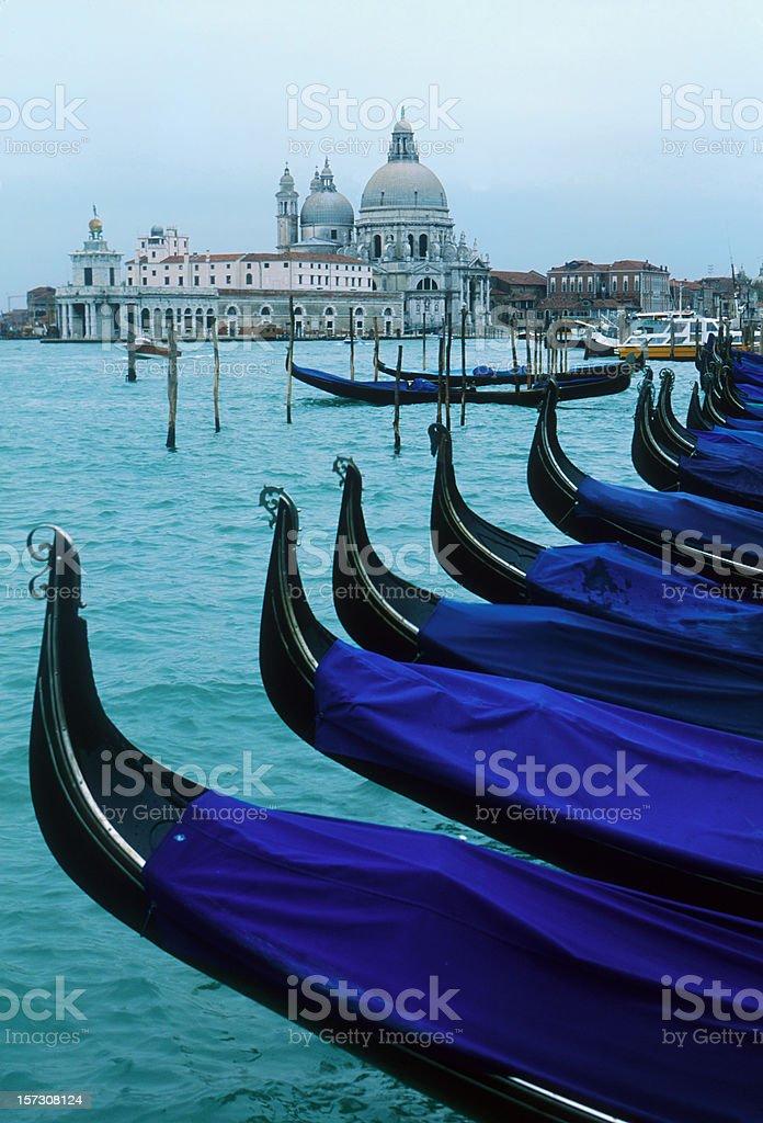 Italy. Gondolas of Venice and Basilica royalty-free stock photo