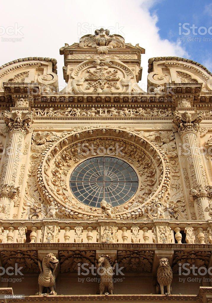Italy, Lecce, Historic centre. Baroque facade. stock photo