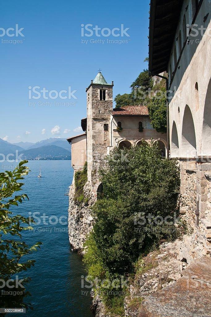 Italy - Maggiore Lake, Eremo Santa Caterina del Sasso stock photo