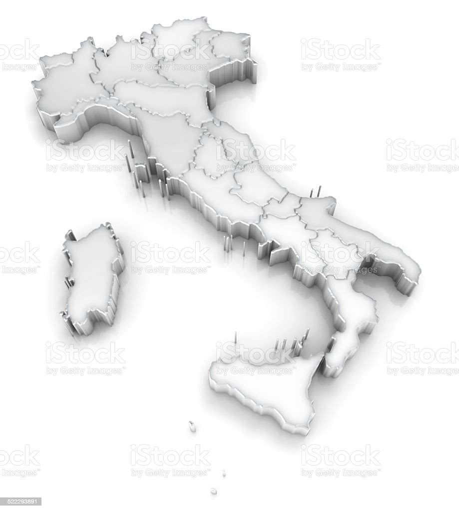 Italy map with regions 3d on white stock photo