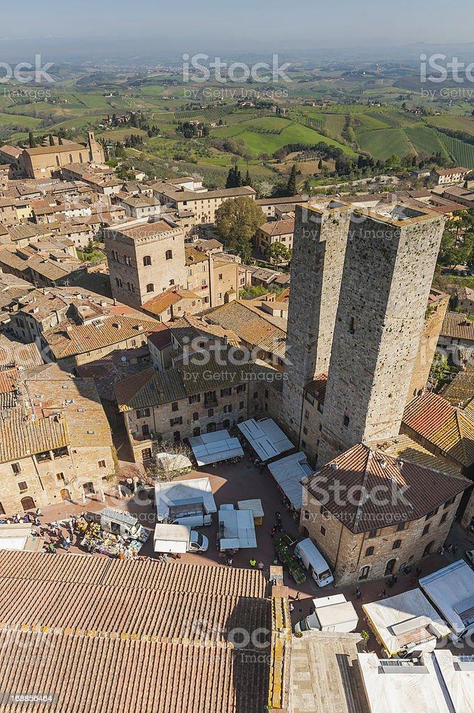 Italy market day in San Gimignano Tuscany stock photo