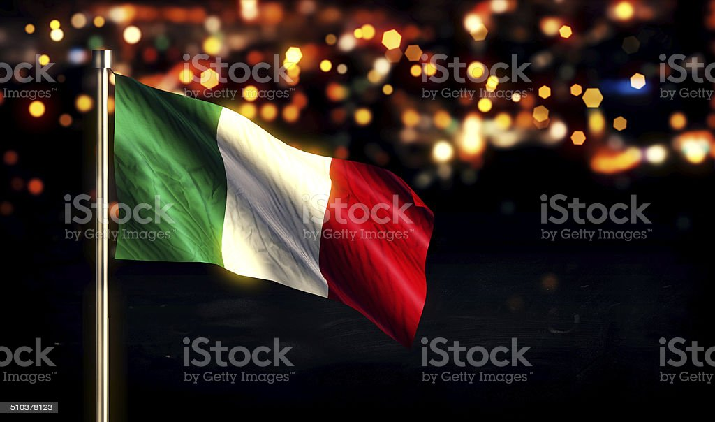Italy National Flag City Light Night Bokeh Background 3D stock photo