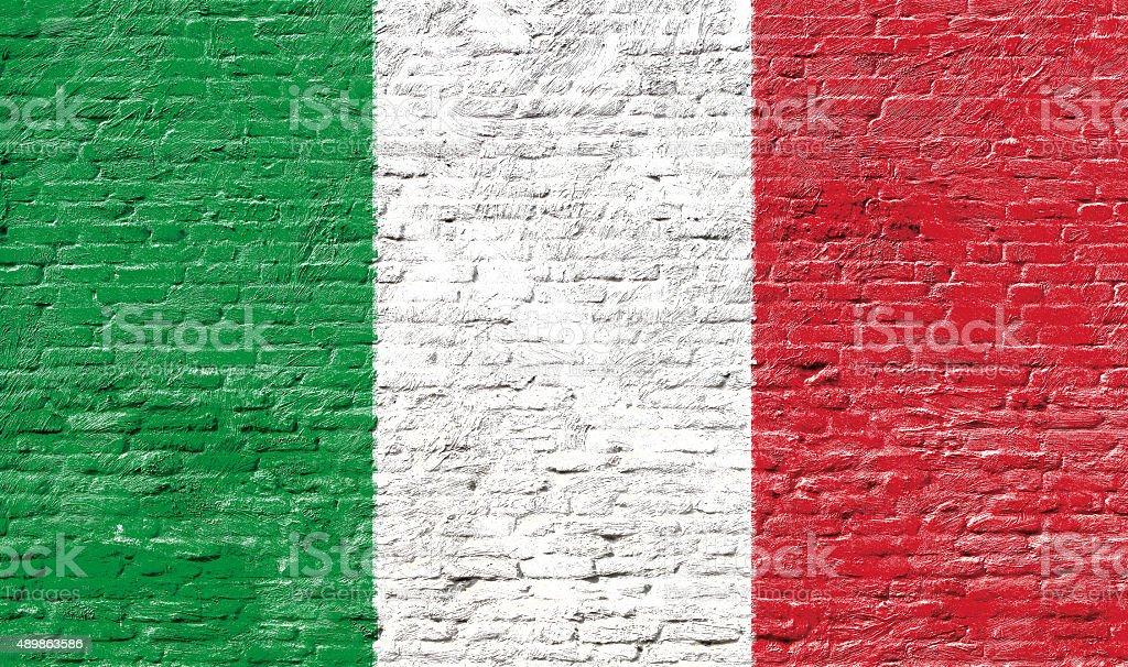 Italy - National flag on Brick wall stock photo
