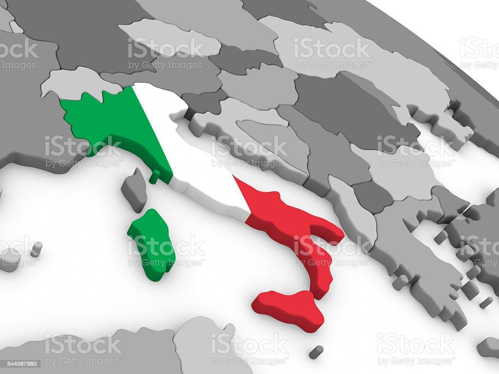 Italy on globe with flag stock photo