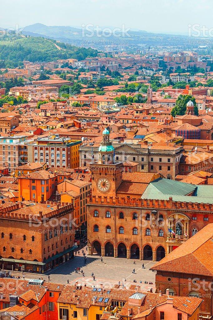 Italy Piazza Maggiore in Bologna old town stock photo