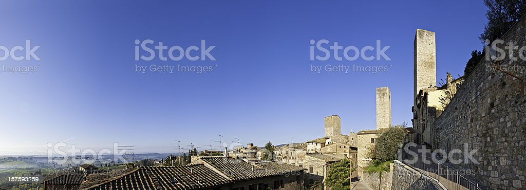 Italy picturesque hill town villas towers San Gimignano Tuscany panorama stock photo