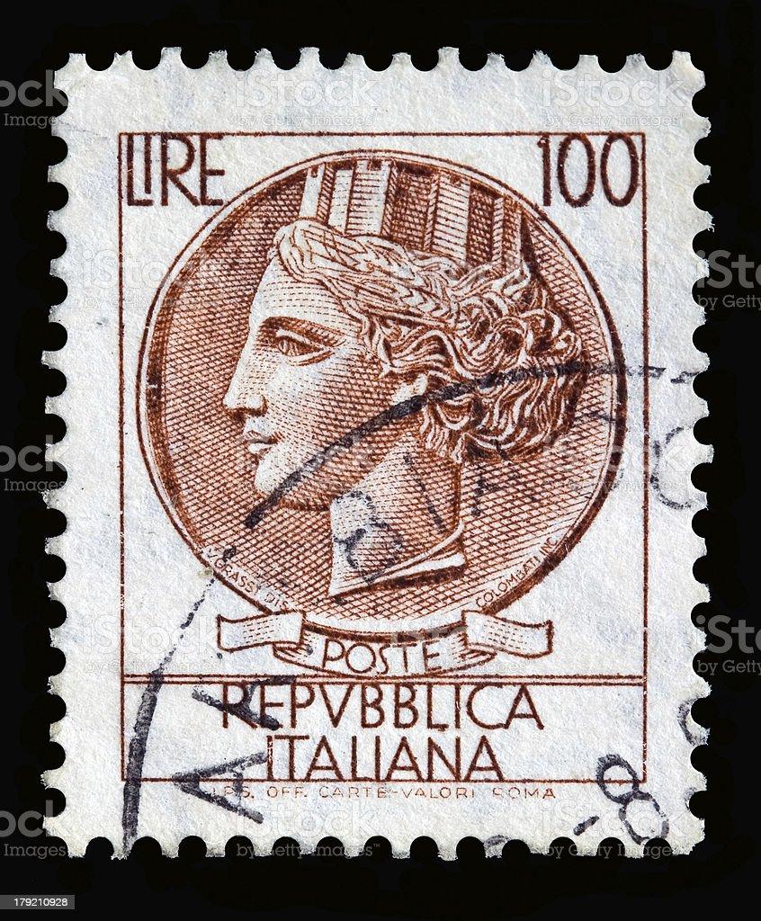Italy postage stamp Turrita serie. 100 Lire royalty-free stock photo