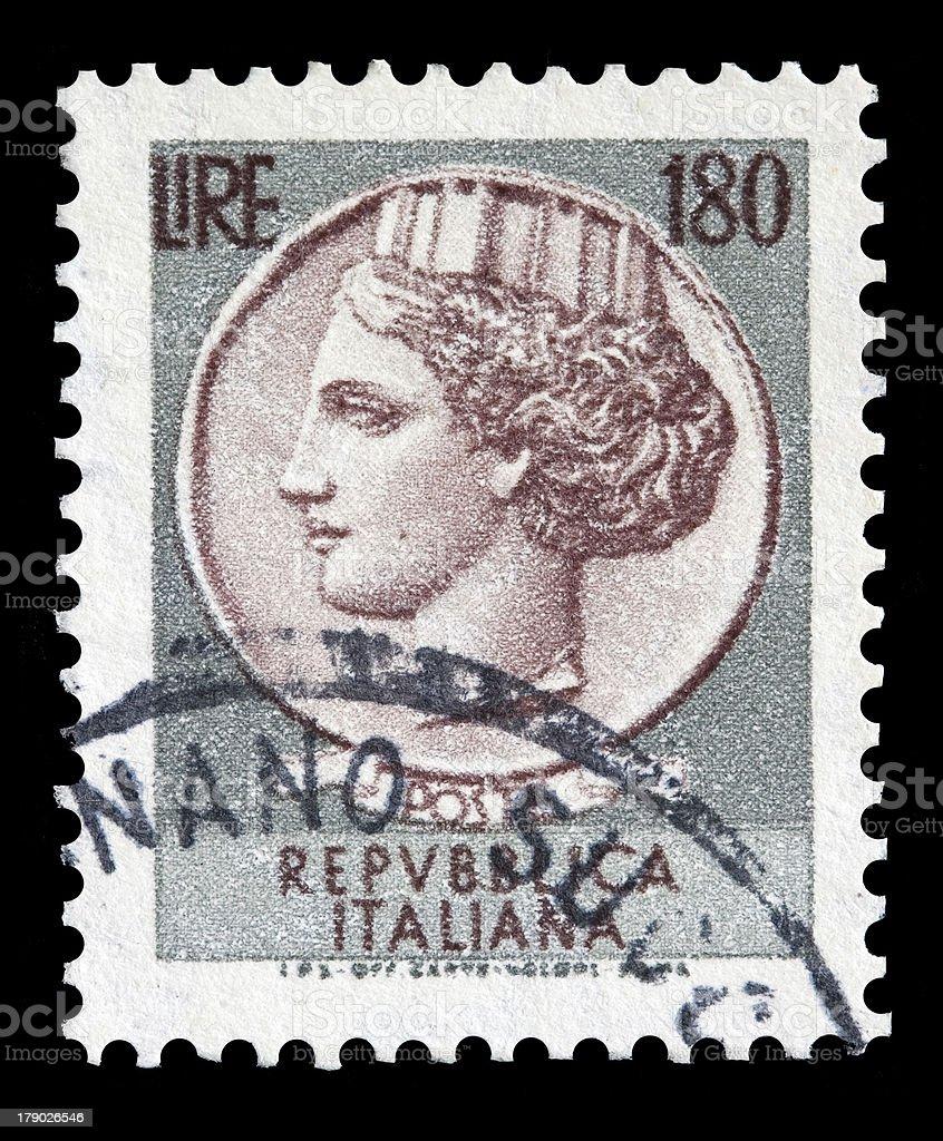 Italy postage stamp Turrita serie. 180 Lire royalty-free stock photo