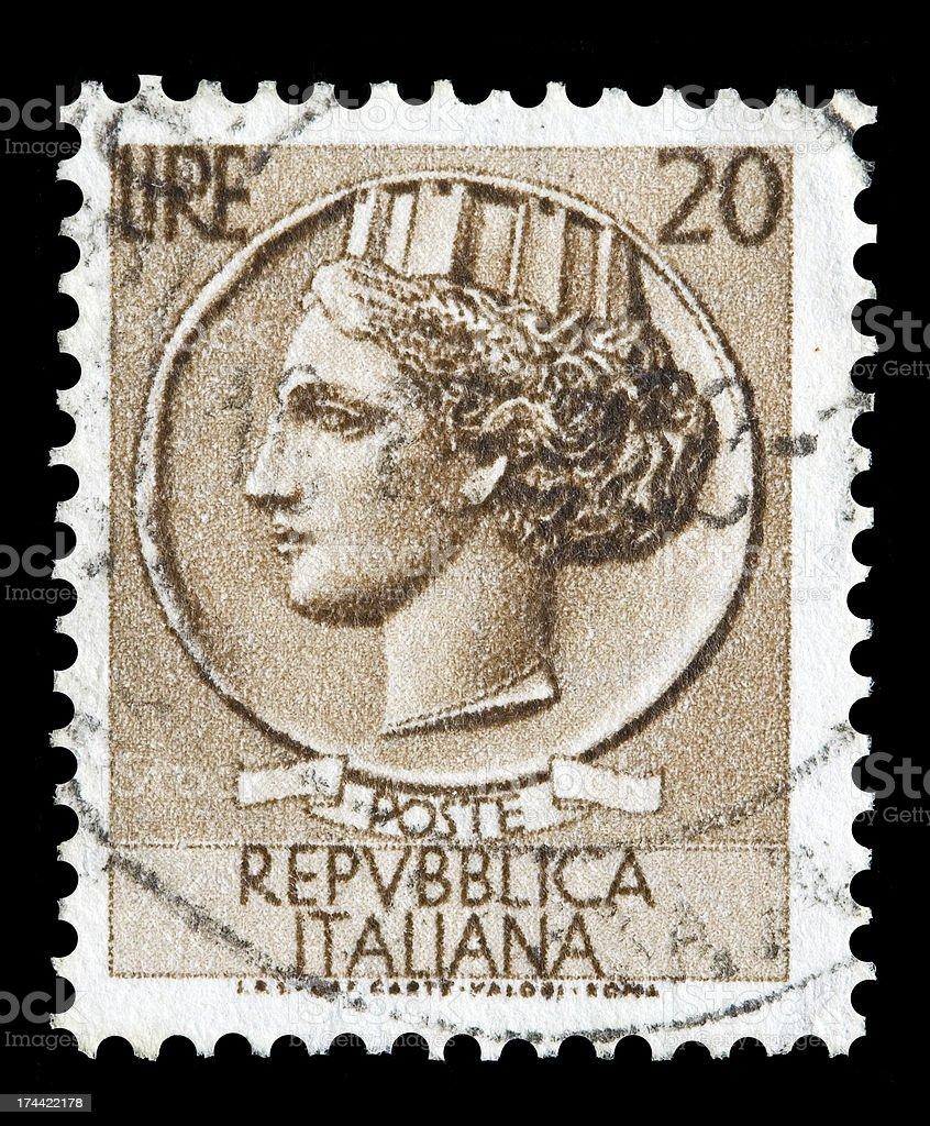 Italy postage stamp Turrita serie. 20 Lire royalty-free stock photo