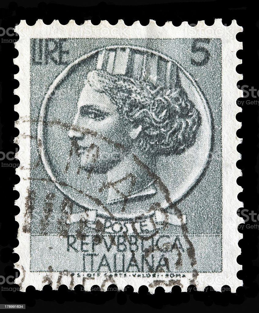 Italy postage stamp Turrita serie. 5 Lire royalty-free stock photo