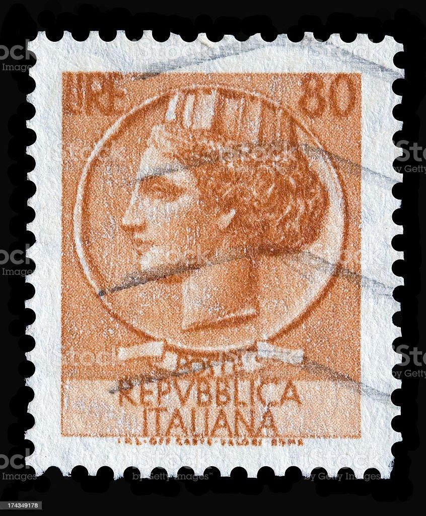 Italy postage stamp Turrita serie. 80 Lire royalty-free stock photo