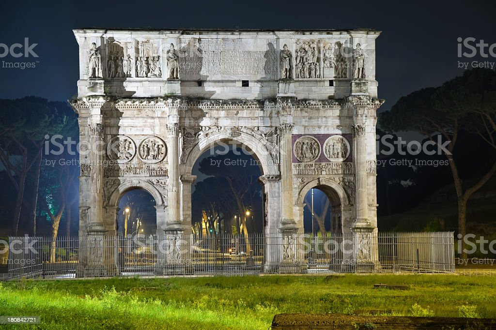 Italy. Rome at Night. Arch of \temperor Constantine royalty-free stock photo