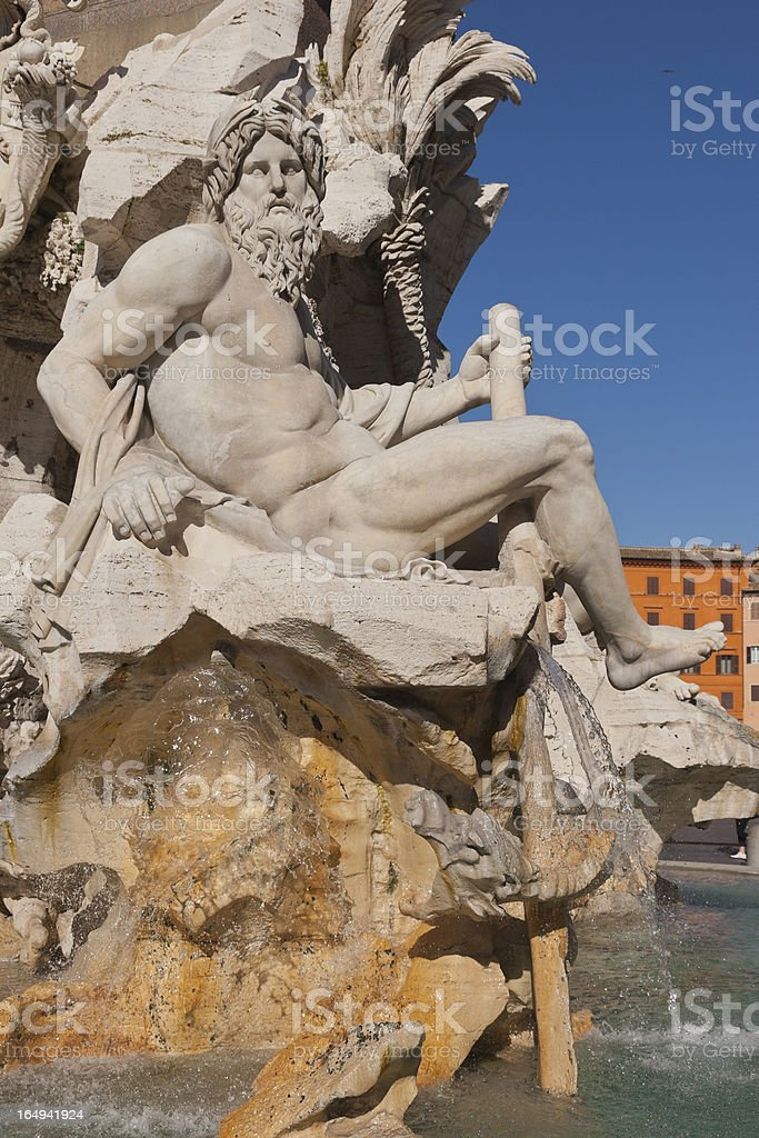 Italy. Rome. Piazza Navona. Fontana dei Quattro Fiumi royalty-free stock photo