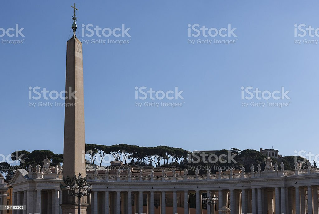 Italy. Rome. Obelisk and Bernini's colonnade in Saint Peter's Square royalty-free stock photo