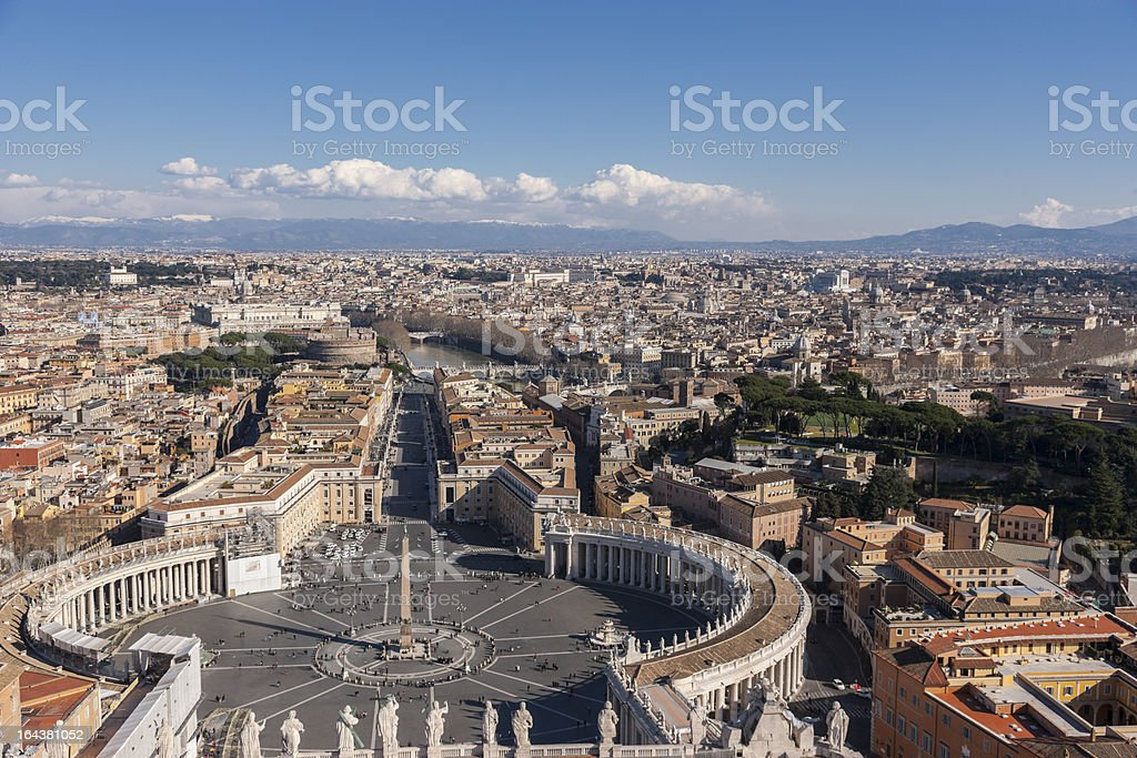 Italy. Rome. Saint Peter's Basilica. view from Michelengelo's dome stock photo