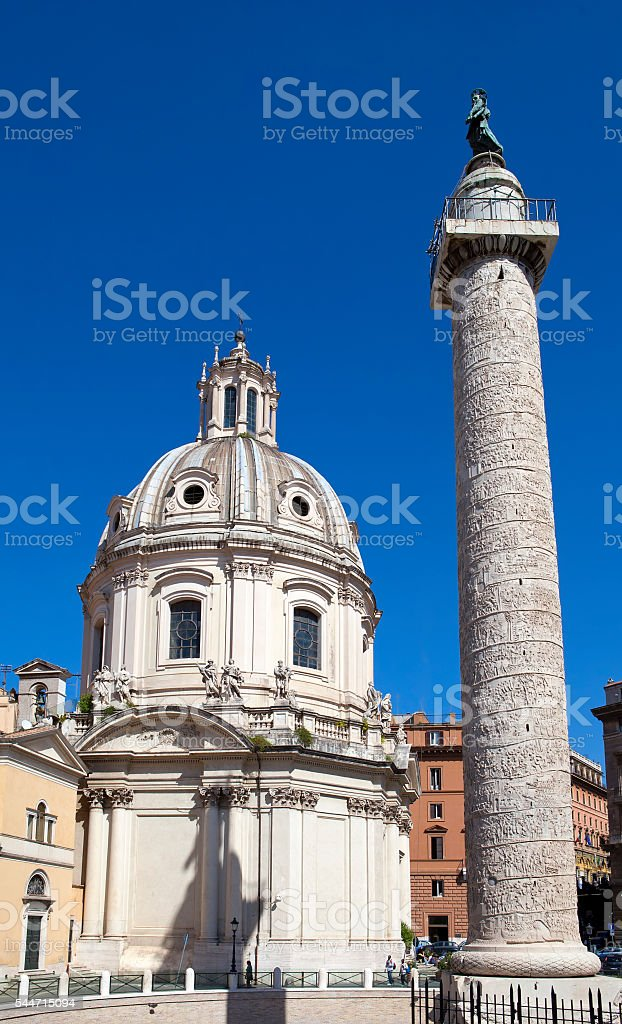 Italy. Rome. Trojan column and churches Santa Maria di Loreto stock photo