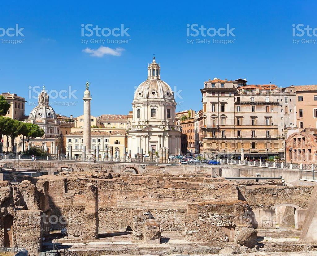 Italy. Rome. Trojan column, churches of Santa Maria di Loreto stock photo