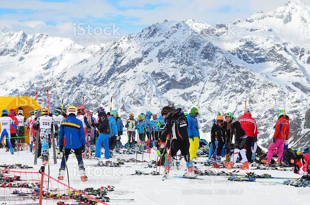 Italy Scene: People preparing for ski competitions in the Alps stock photo