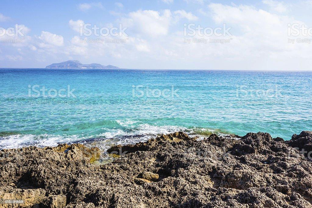 Italy, Sicily, Favignana island, Cala Rossa. stock photo