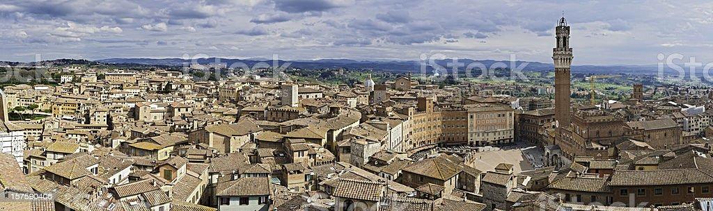 Italy Siena Il Campo Torre Mangia Palazzo Pubblico panorama Tuscany royalty-free stock photo