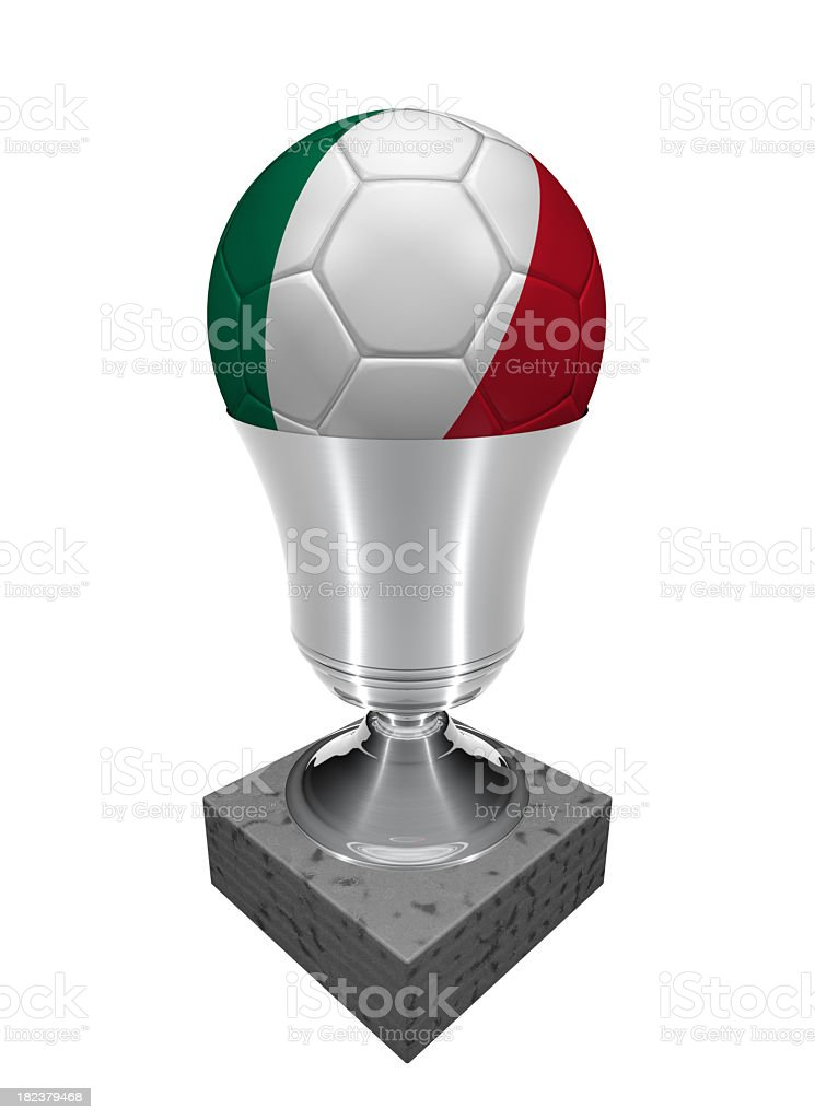 italy soccer ball in a trophy royalty-free stock photo