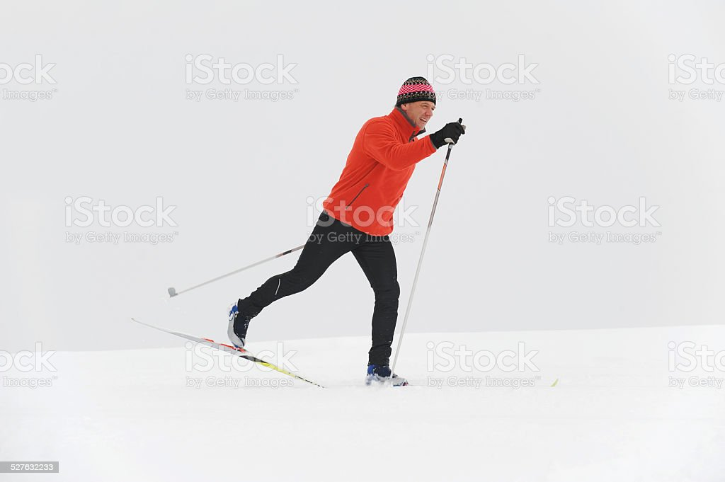 Italy, South Tyrol, man cross-country skiing stock photo