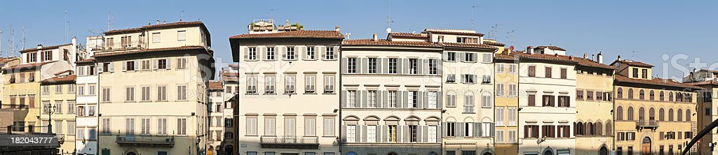 Italy stucco villas townhouses shutters balcony homes panorama Florence Tuscany royalty-free stock photo