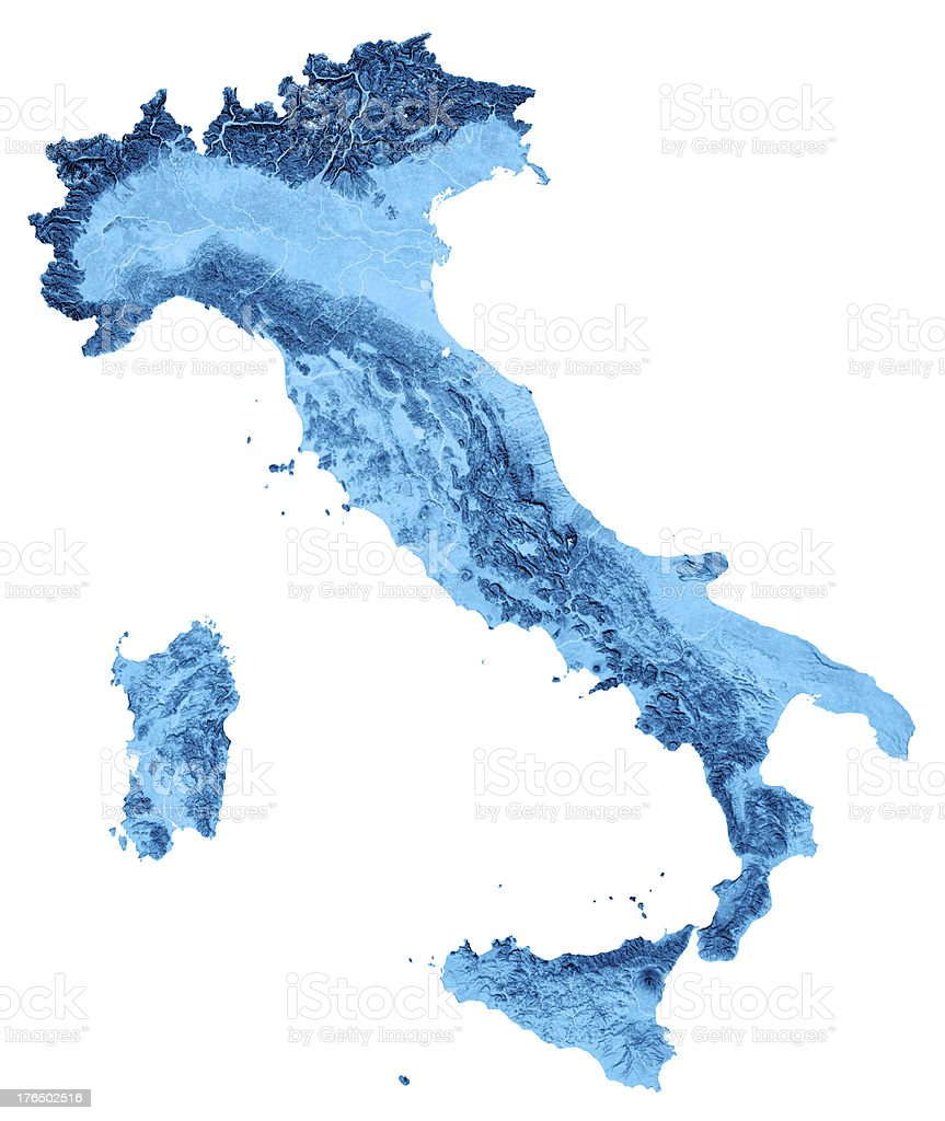 Italy Topographic Map Isolated stock photo