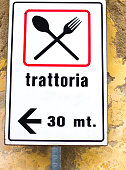 Italy: 'Trattoria' Road Sign with Spoon and Fork Symbol