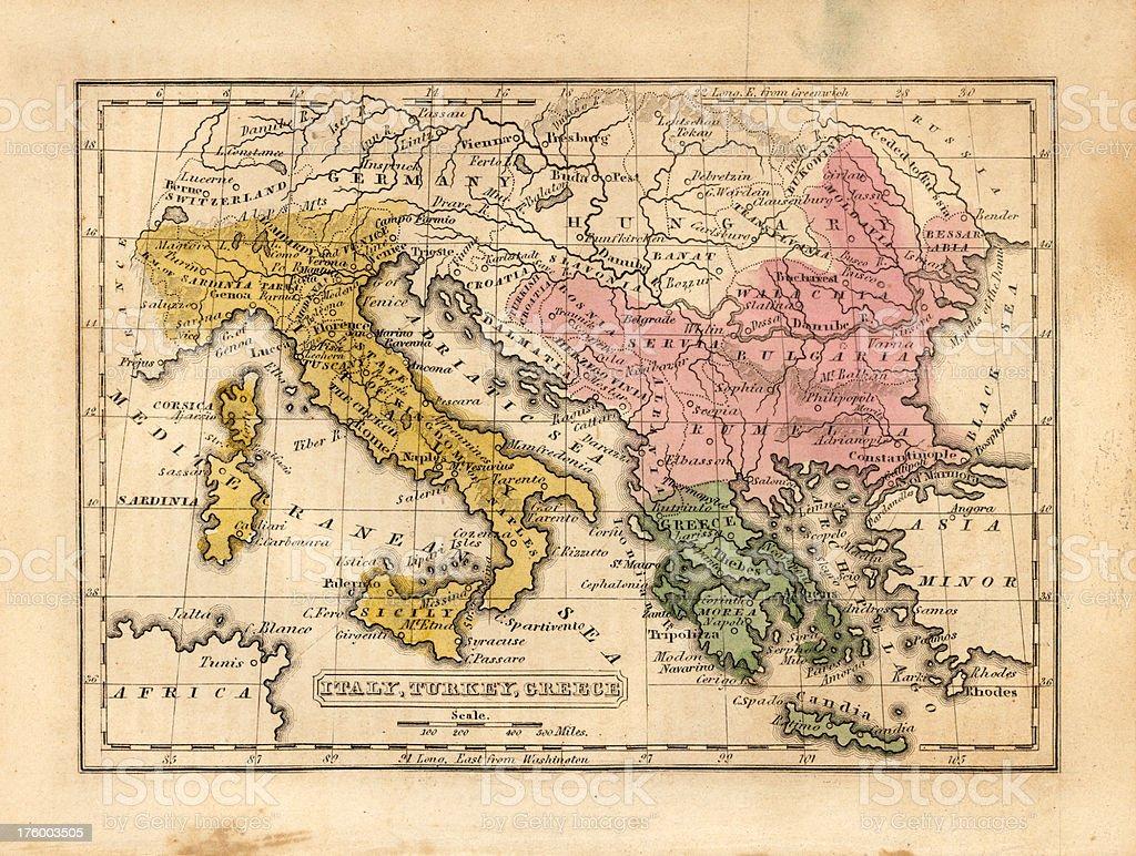 italy, turkey, greece vintage map stock photo