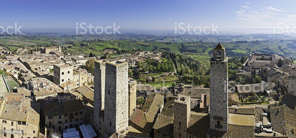 Italy Tuscany ancient towers of San Gimignano panorama stock photo