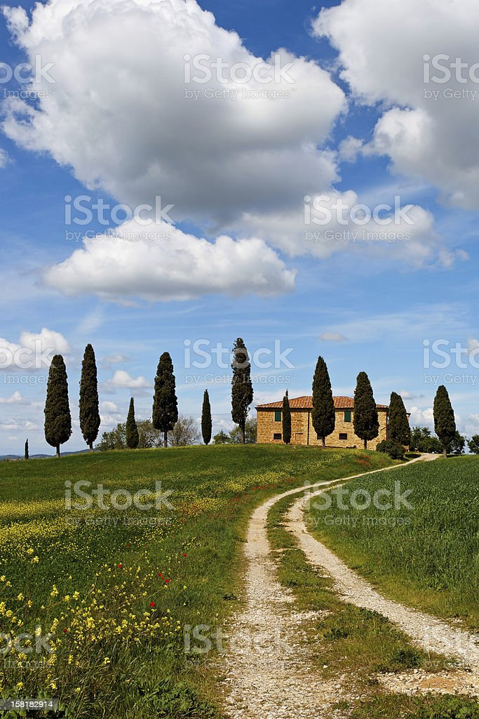 Italy, Tuscany landscape with farm house stock photo
