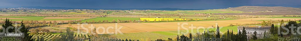 Italy Tuscany palazzo and hill top villages farms panorama Sienna royalty-free stock photo