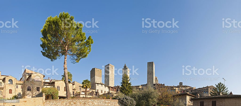Italy Tuscany San Gimignano medieval village towers summer sunrise panorama royalty-free stock photo