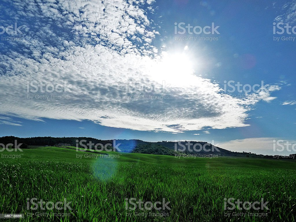 Italy, Tuscany, the Tuscan countryside with clouds stock photo