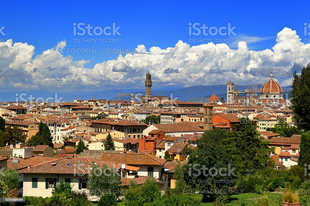 Italy. View on Florence from the Giardino delle Rose stock photo