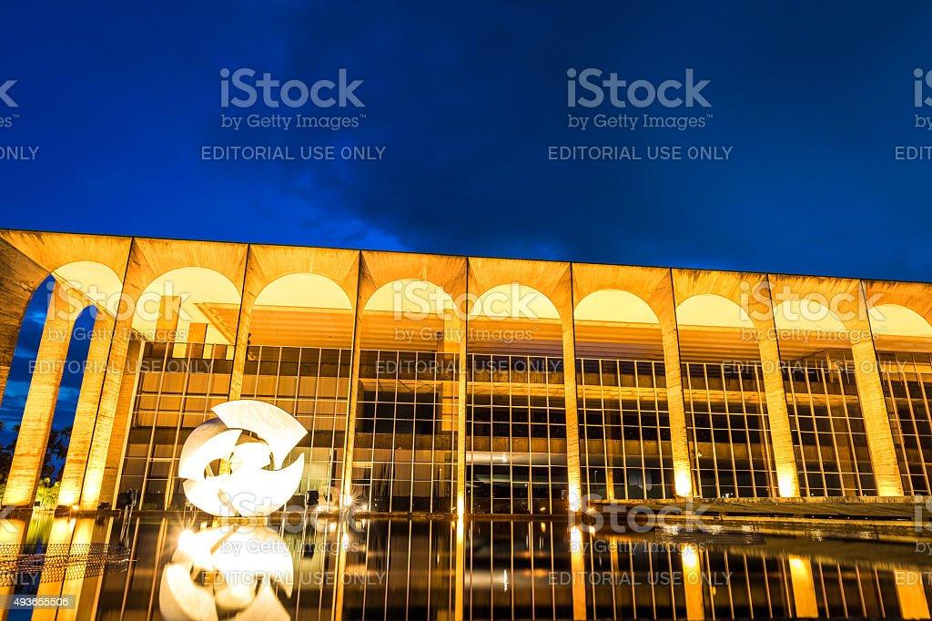 Itamaraty Palace at night in Brasilia, Brazil stock photo