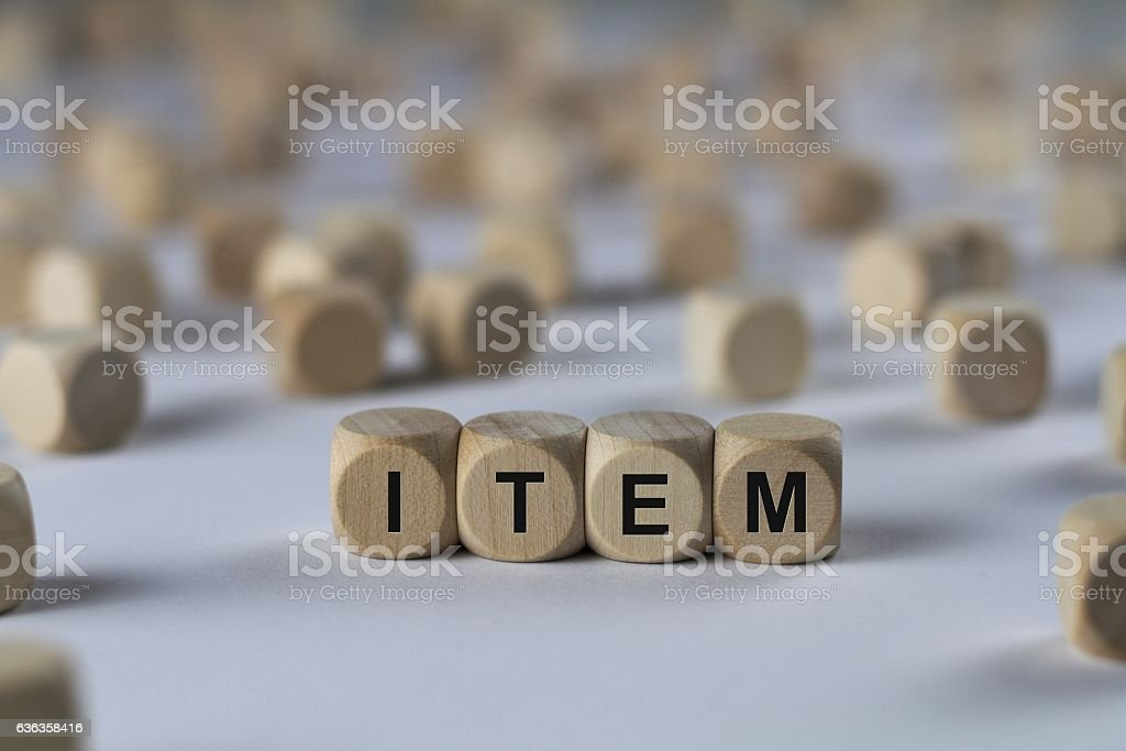 item - cube with letters, sign with wooden cubes stock photo