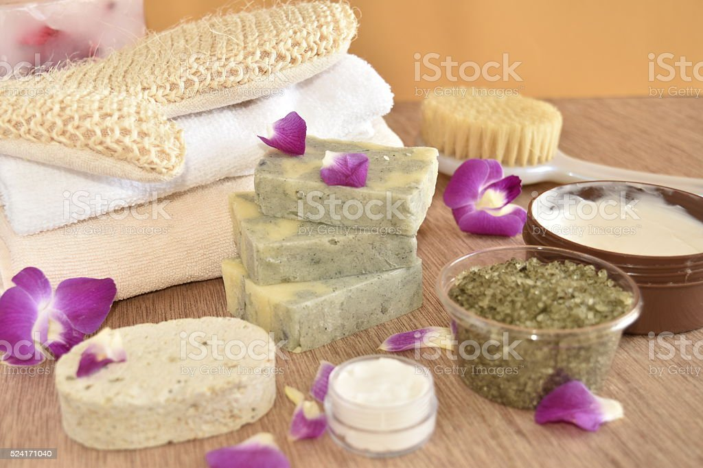 SPA items and orchid. stock photo