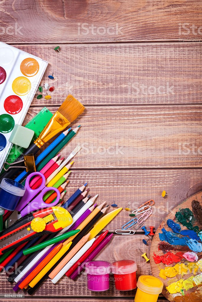 Items for children's creativity stock photo