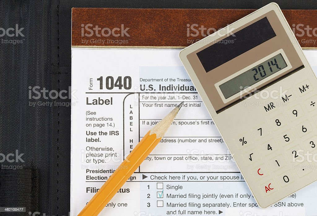 Items for doing Income Taxes stock photo
