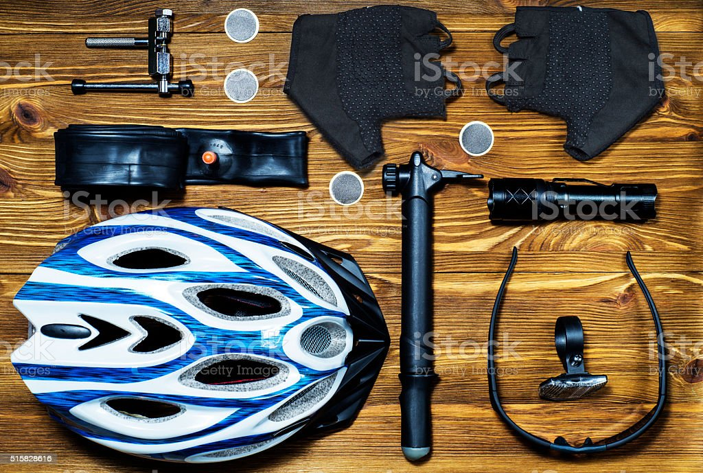 Items replacements and tools for a safe cycling. stock photo