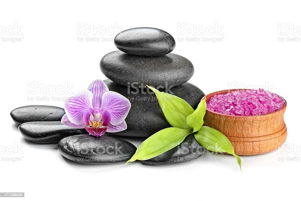 Items that are used on a spa isolated in white background stock photo