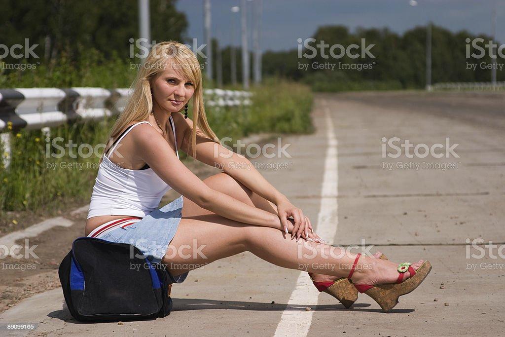 Itenerant attractive woman. royalty-free stock photo