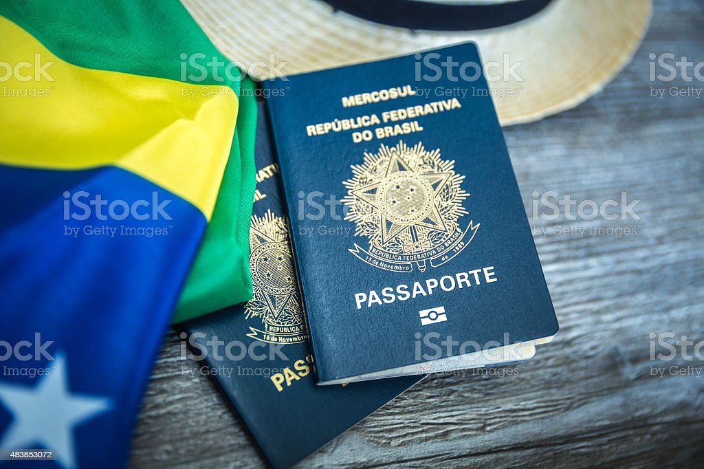 Itens for traveling, Brazilian content stock photo