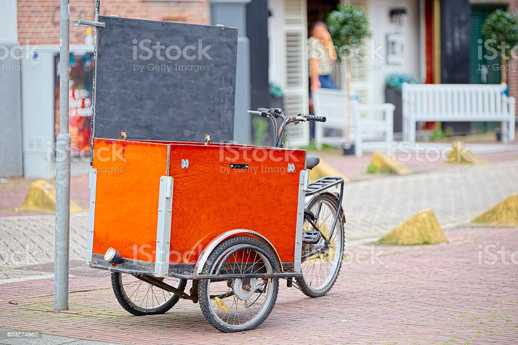 Itinerant handcart selling food in Amsterdam stock photo